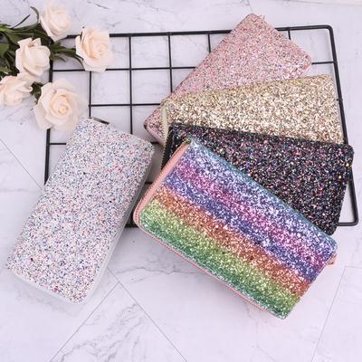 New Women Sequins Zipper Long Purse Clutch Phone Case Wallet Bag Card Holder