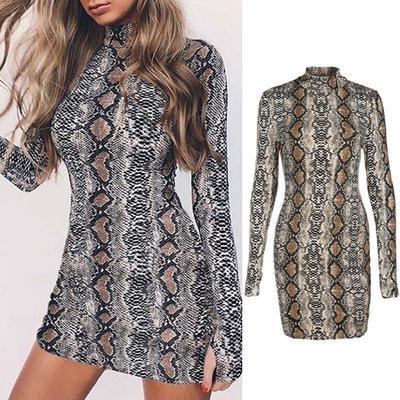5ce00b242d4 Мода женщин змеиной кожи печати Bodycon платье мини длинным рукавом  Повседневные платья