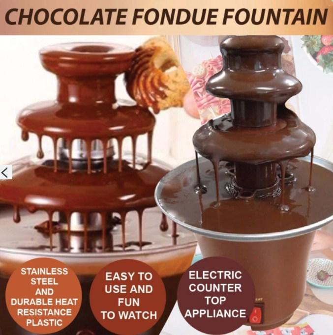 3 Tiers Chocolate Fondue Fountain Stainless Steel Heated Home Household Party MX