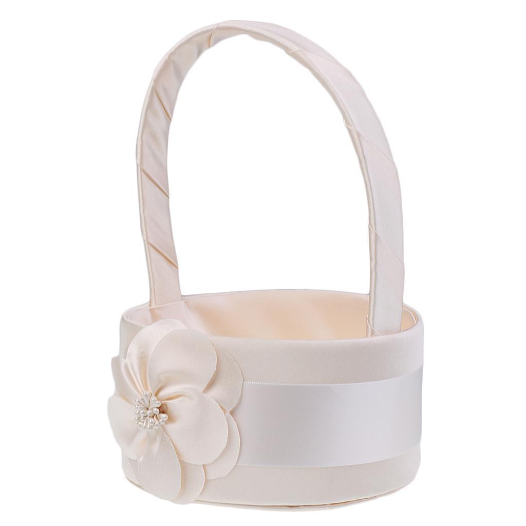 Wedding Ceremony Flower Girl Basket Bridesmaid Bud Flower Round Design
