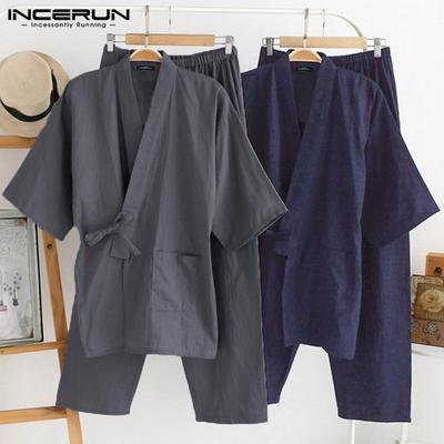 Men Chinese Japanese Kung Fu Pajama Kimono Bathrobe Robe Dressing Gown Sleepwear