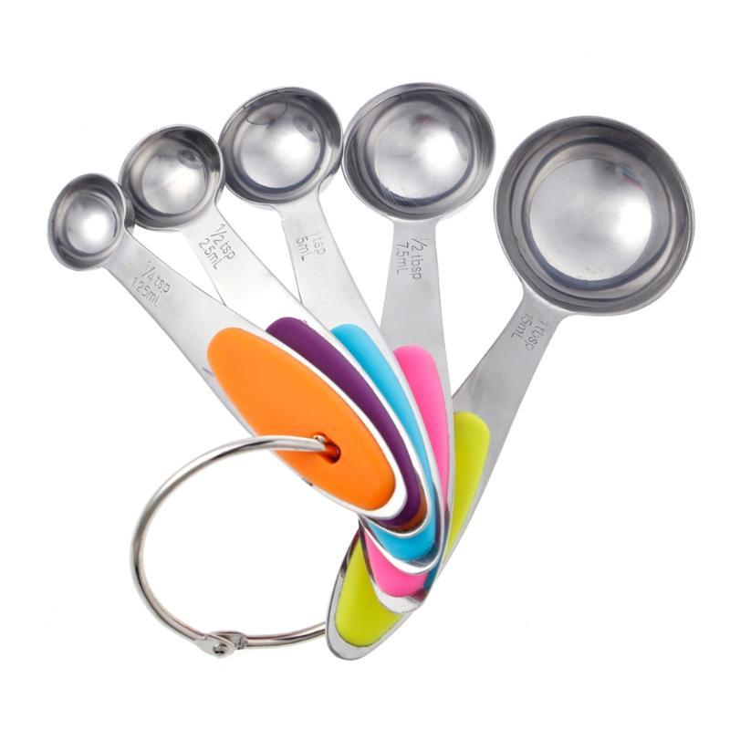 5 Colorful Measuring Baking Spoons Cups Kitchen Tools Teaspoons Utensil 1Set /_cc