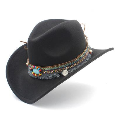 Moda mujer vaquera lana mezcla Alón sombrero vaquero occidental hombres  tapas tapa Jazz Bohemia borla f7dd5078dd1