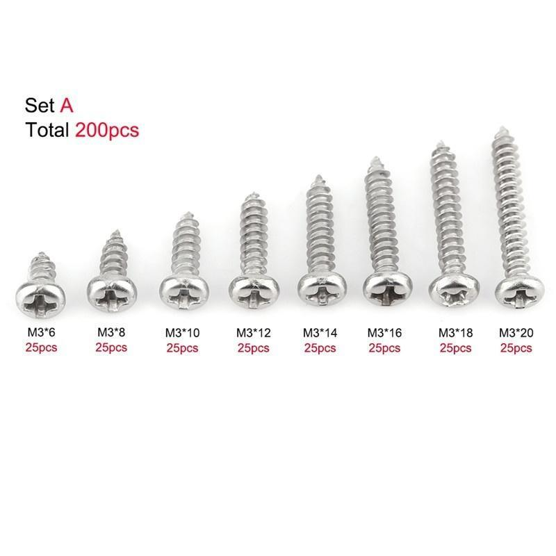 200pcs M3/304/Acero inoxidable Cacerola//de pie para//Truss Cabeza Tornillos Autorroscantes Surtido Kit