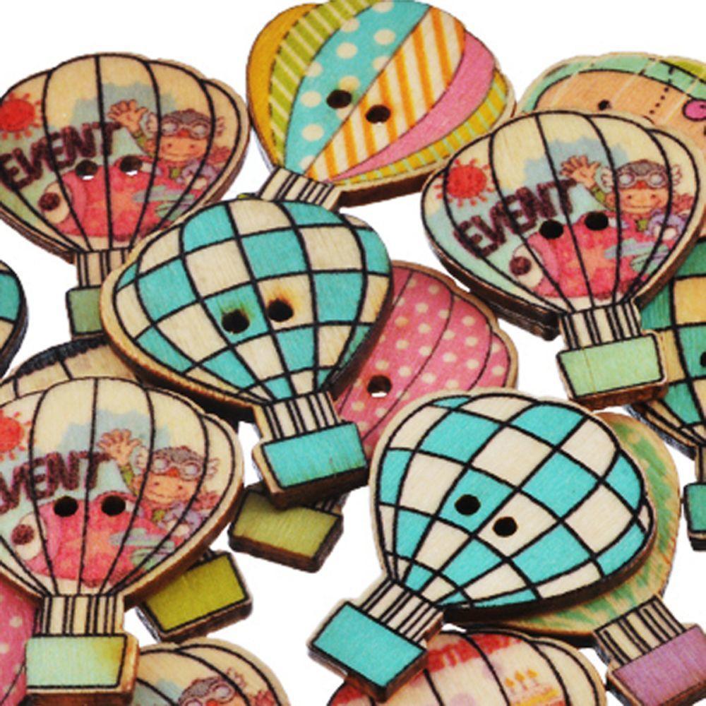 50 Stück Cartoon DIY-Kunsthandwerk aus Holz Scrapbooking Ballon ...