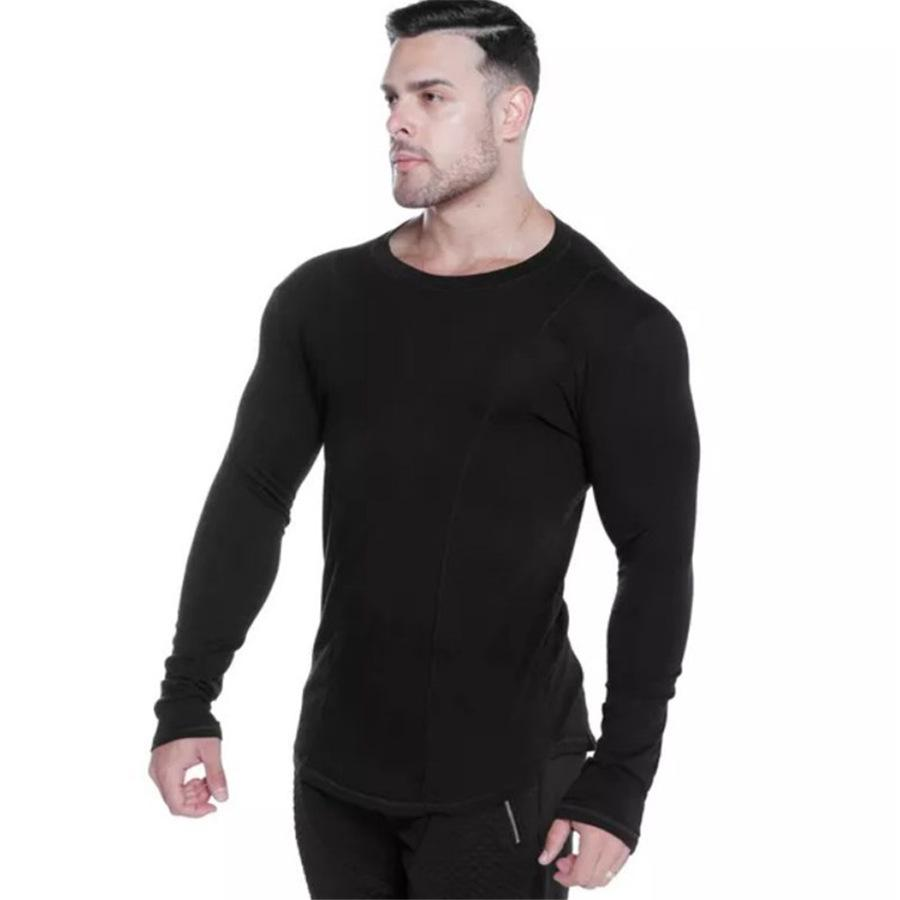 iSkylie Big Mens Long Sleeve Fitness Yoga Slim Fit Print Casual T Shirt Male Casual Sport Shirt