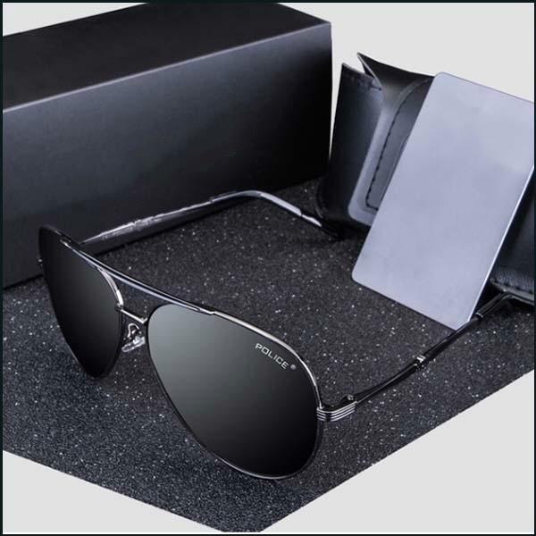 Поляризованная мода Солнцезащитные очки Cool Мужчины Outdoor-Sports Металлический рамка очки-черный объектив
