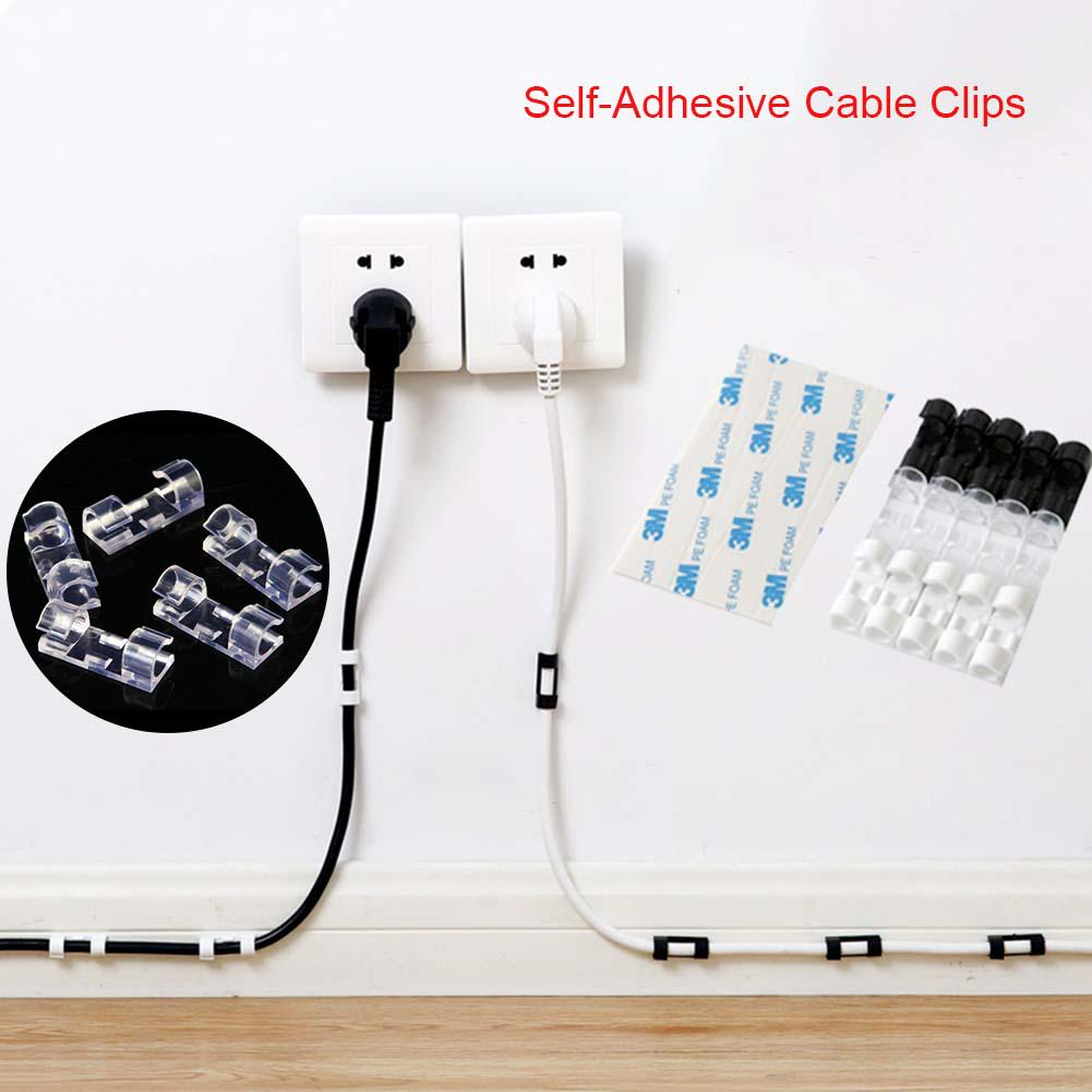 3M Peel /& Stick Adhesive Organizer Cord Tie Mount 10 Cable Wire Clip Holders