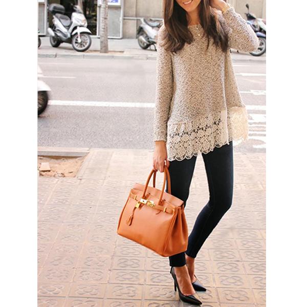 Mujer Casual punto suéter manga larga jersey punto flojo puente ...