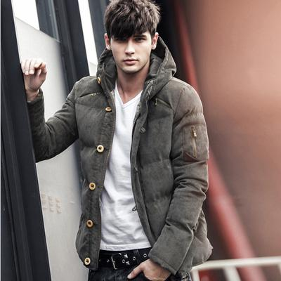 Mens Casual Thick Pocket Parka Quilted Hooded Jacket Coat Outwear