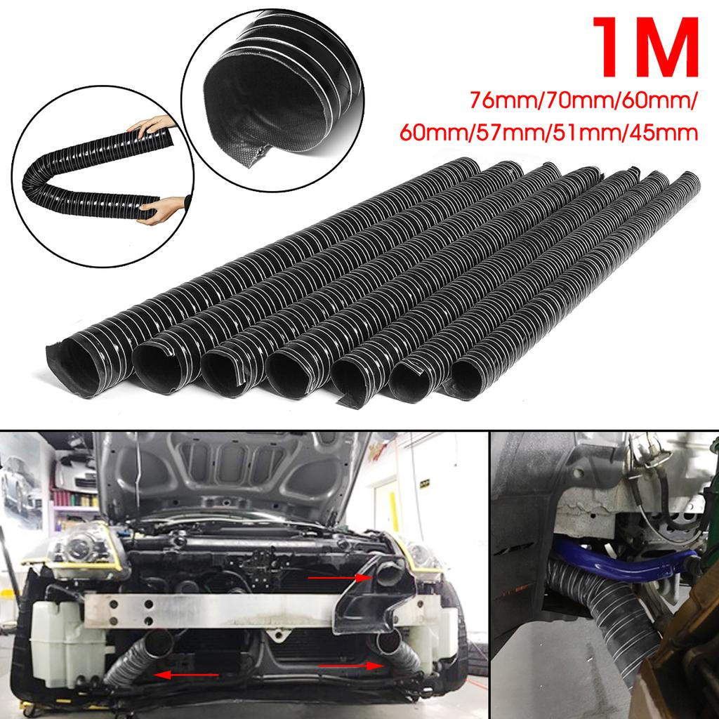 76mm Black 4 Metres Silicone Ducting Flexible Hose Hot Or Cold Car Air Pipe