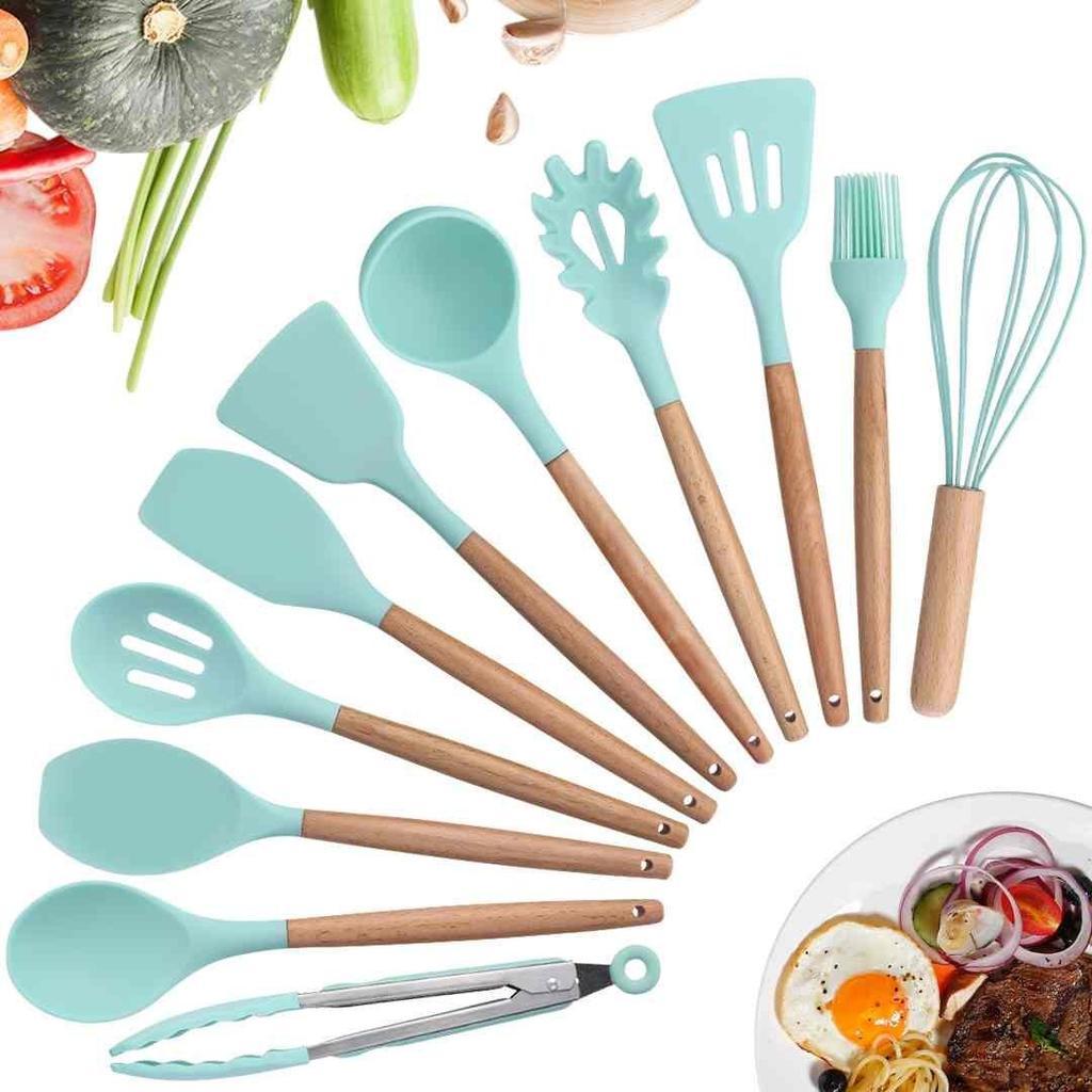 1-11pcs Silicone Kitchenware Set Wood Handle Non-stick Kitchen Cooking Utensils