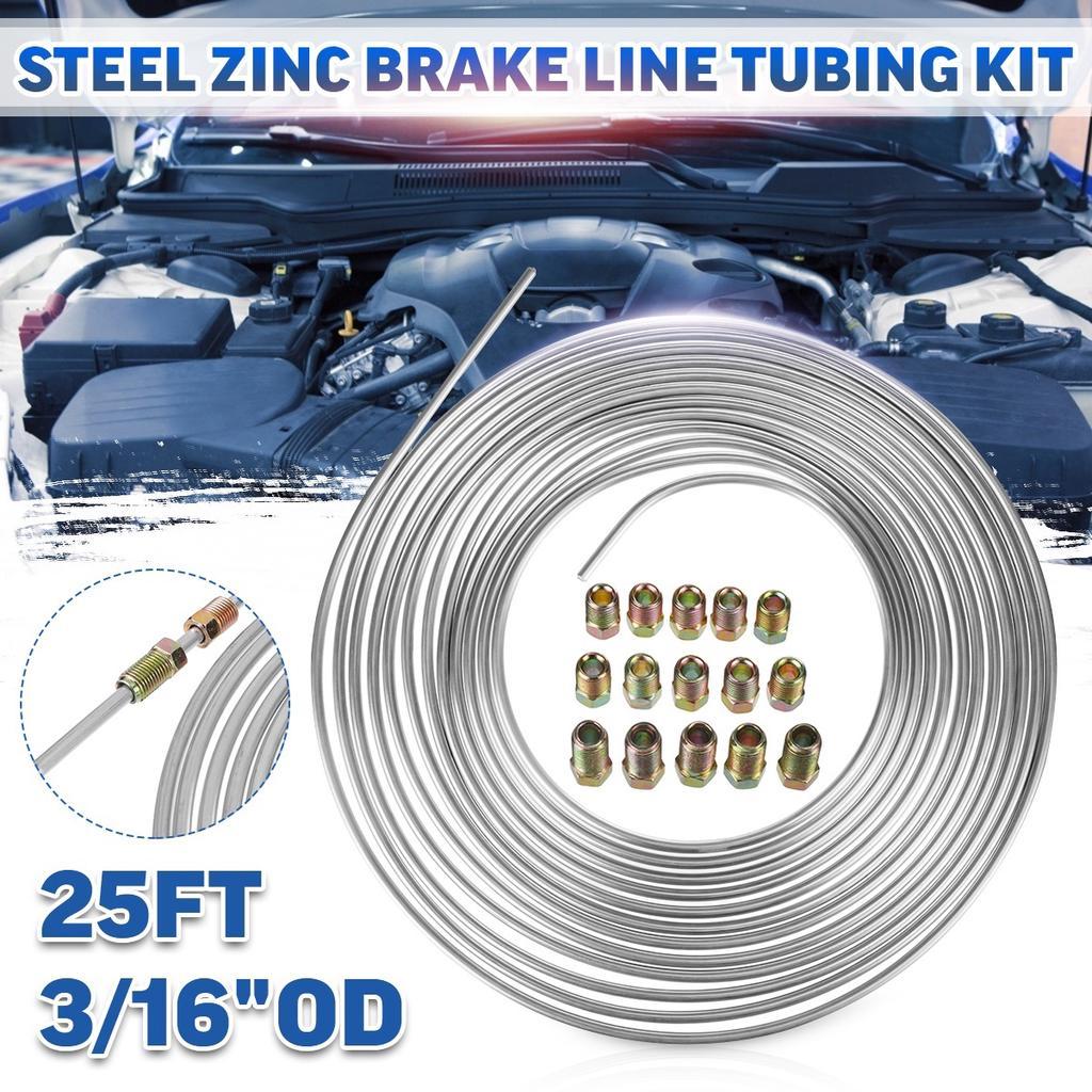 "Zinc Steel Brake Line Pipe 25ft 3//16/"" w// Male Female Nuts Tubing Joint Kit 20pcs"