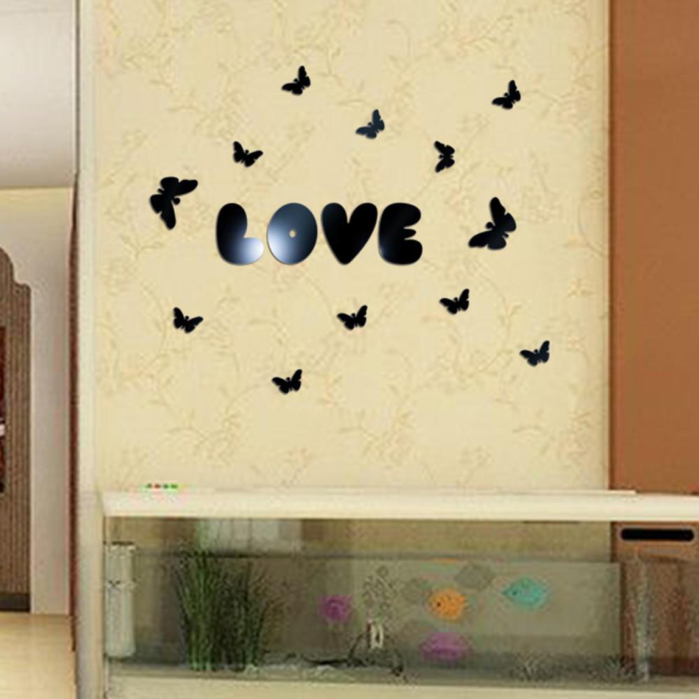 16Pcs//Set Amor Corazón Forma De Acrílico Espejo Pared Adhesivo Decoración Habitación Arte Calcomanía Hogar