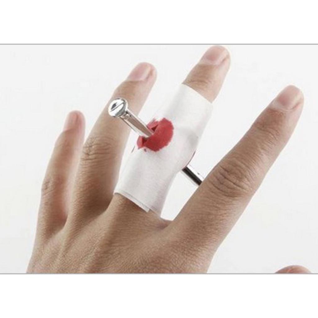 New Thru Through Finger Fake Bloody Nail Toy Gag Gift Prank Joke Trick Halloween