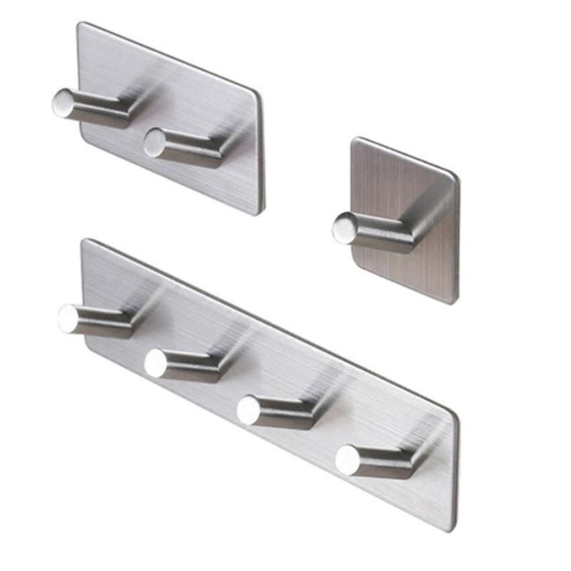 Self Adhesive Wall Door Stainless Steel Stick Oblique Single Hook Hanger#^