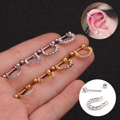 1mm Surgical Steel Screw Style Nose Stud 3mm Claw Set Round CZ Gem ~ Piercing