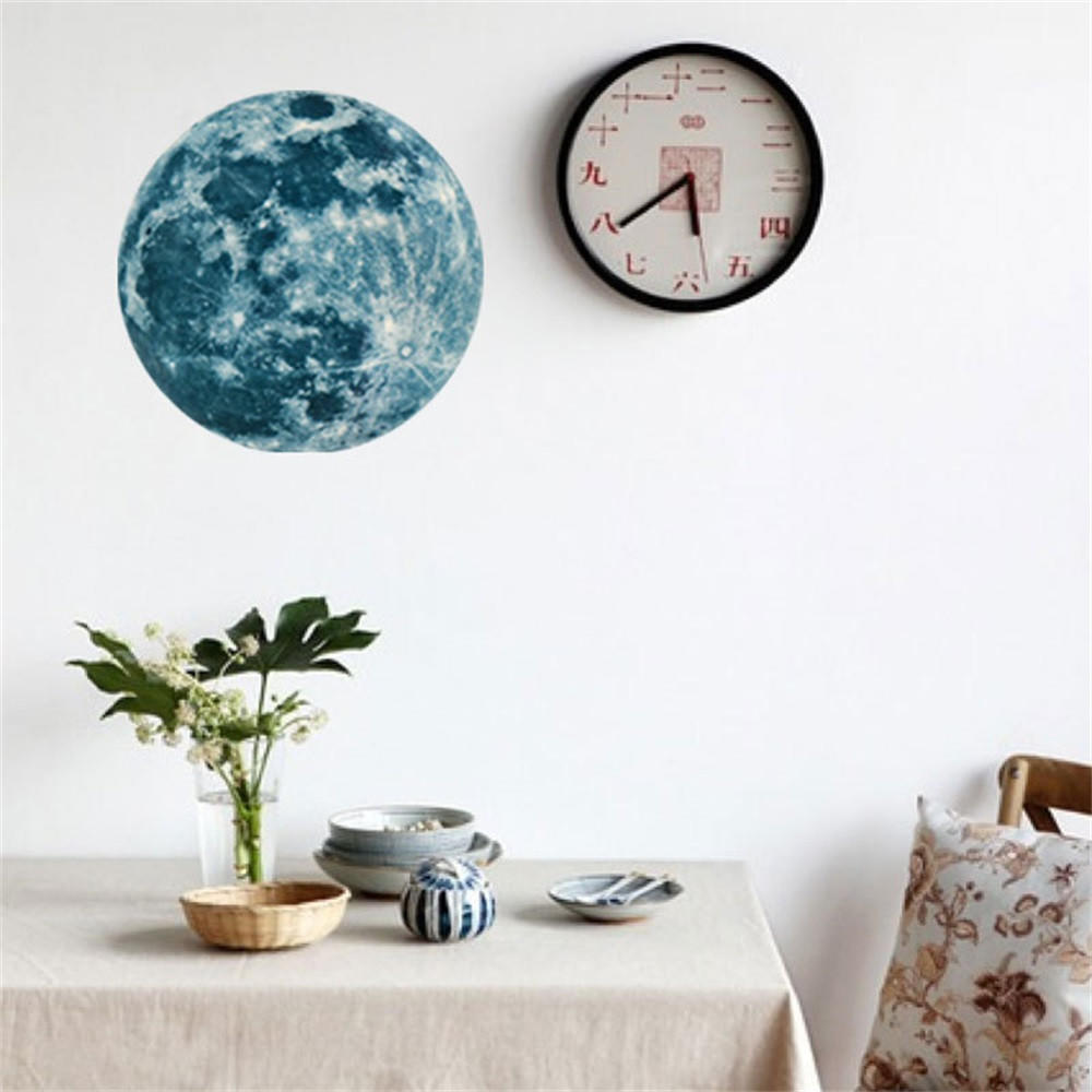 5//12//20cm 3D Large Moon Glow In The Dark Luminous Wall Sticker Removable Decal