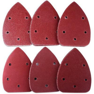 40PCS Hook /& Loop Triangular Abrasive Multi Tool Sandpaper Grit Sand Papers 5 Holes 140mm/×90mm 60 80 120 240#