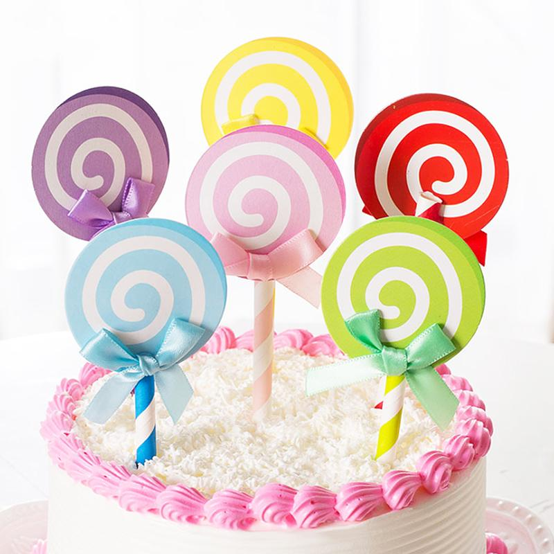 Pleasant 6 Pcs Set Candy Color Bowknot Lollipop Birthday Cake Decorations Birthday Cards Printable Inklcafe Filternl