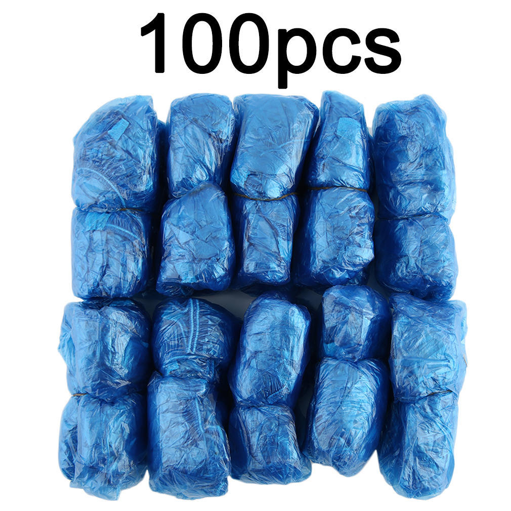 Shoes 100pcs Plastic Disposable Shoe Covers Rainy Day Carpet Floor Protector Thick Cleaning Shoe Cover Blue Waterproof Overshoes #20 Shoes Covers