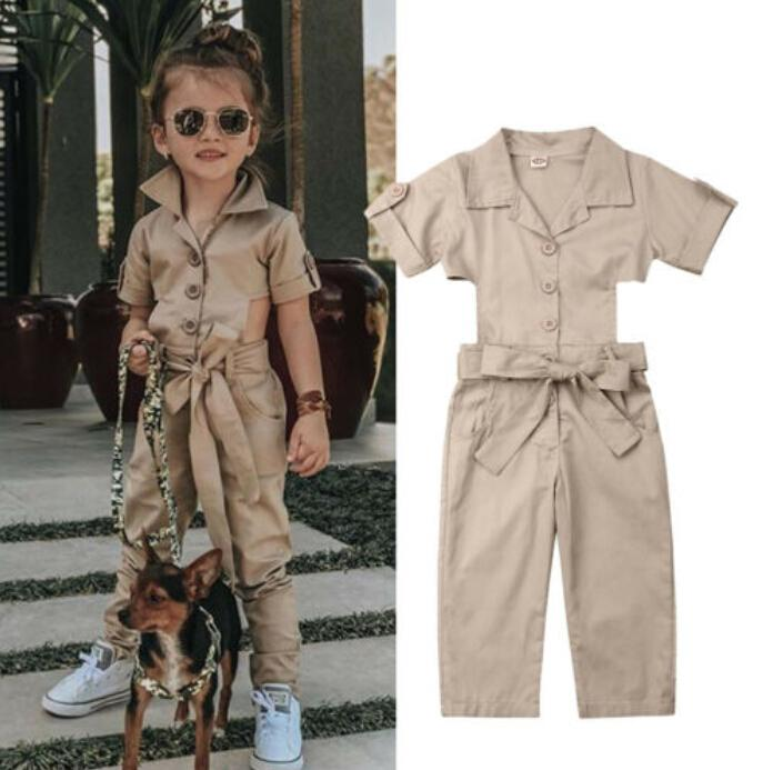 Girls Clothes Casual Solid Backless Belt Cotton Lace Sleeveless Romper Jumpsuit