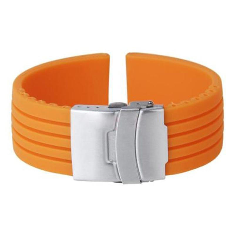 05ed64b6439 Mens orange color Silicone Rubber Watch Strap Band Waterproof with ...