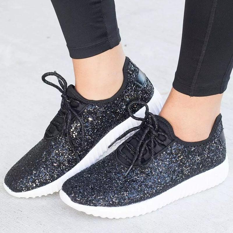 Fashion Sneakers Women's Glitter Shoes Sparkly Sport Shoes Plus Size 35 43