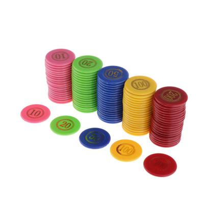 100PCS Poker Chips Transparent Plastic with Digital Chips Entertainment Game