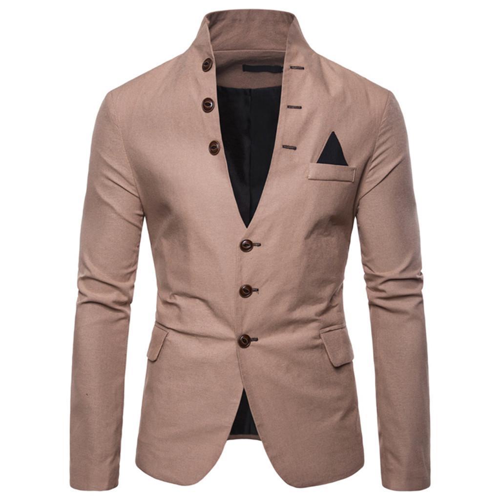 Moda masculina casual sólida manga comprida jaqueta stand pescoço casaco