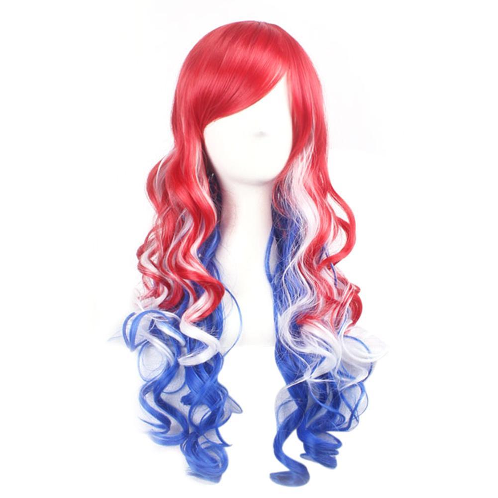 Mujeres largo rizadas peluca Cosplay gradiente blanco azul rojo ... e9faaad860a2