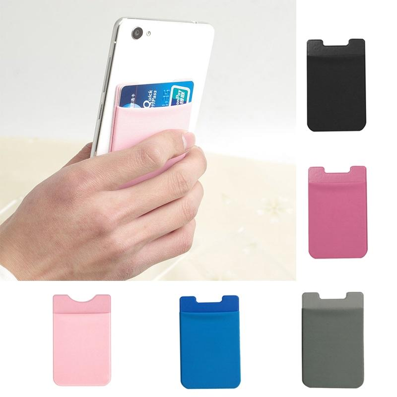 2 in 1 Silicone Adhesive Smart Phone Rear Back Stand Credit Card Holder