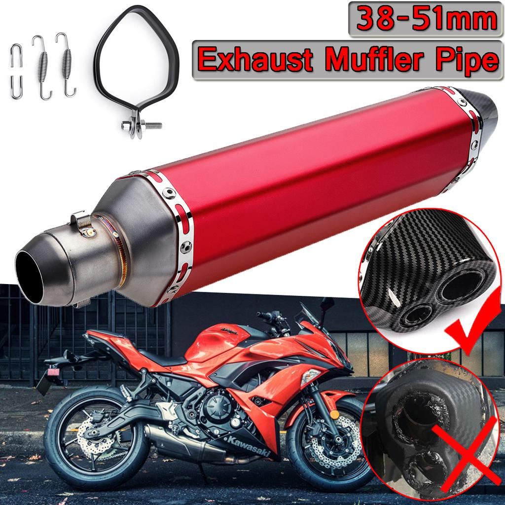 470mm Motorcycle Scooter Stainless Steel Dual-outlet Exhaust Muffler Tail Pipe