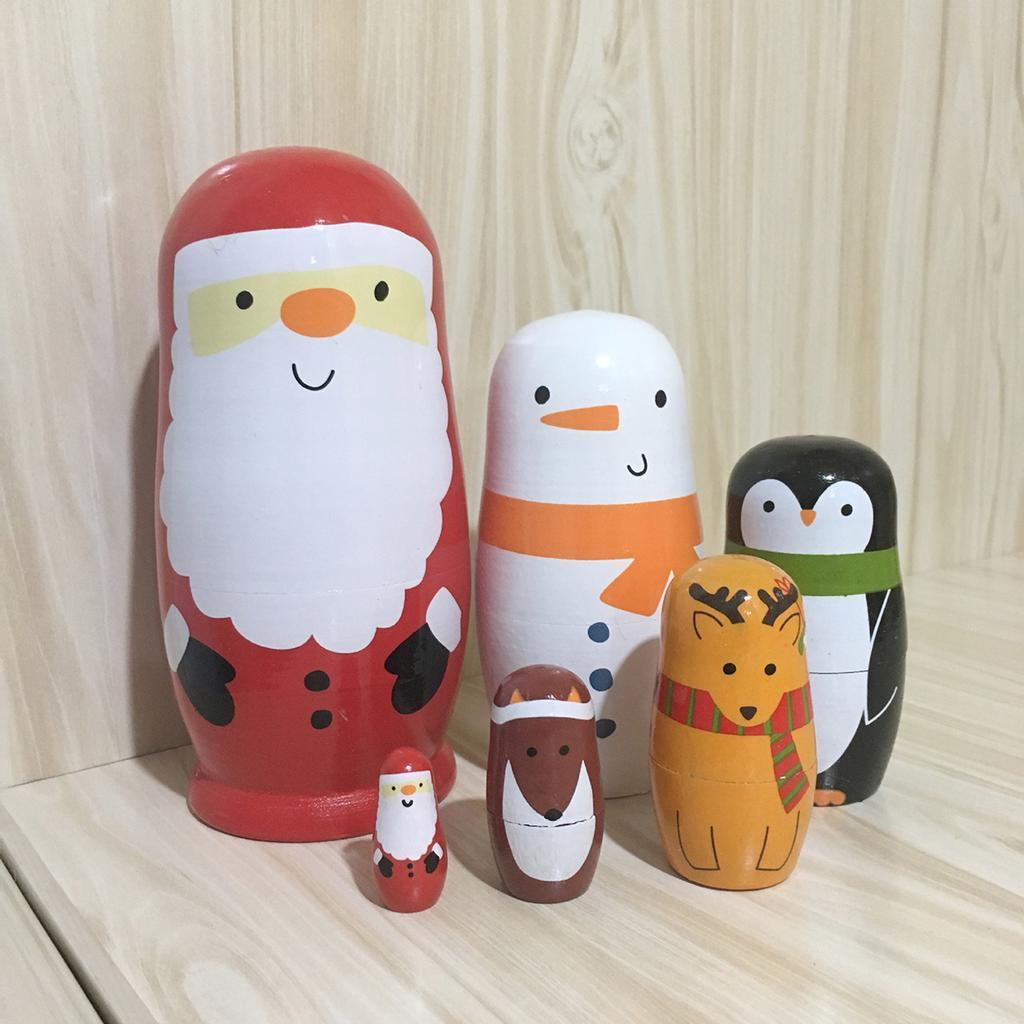 6pcs Wooden Nesting Dolls Russian Santa Claus Matryoshka Set Decoration Gift