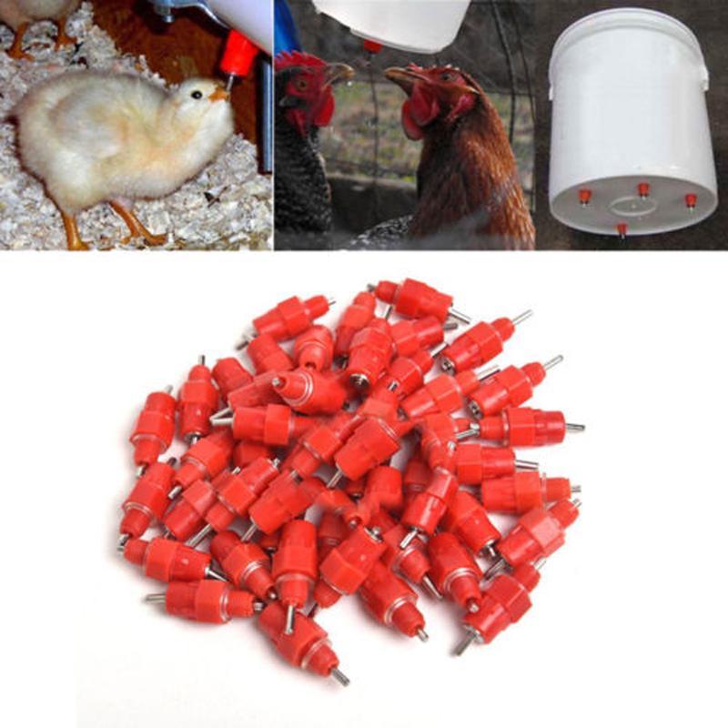 38 Pcs Water Nipple Drinker Chicken Feeder Poultry Duck Hen Screw In Style