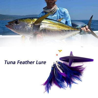 Tuna Feather Lure Teaser Daisy Chain with Bird Feather Rigged w//Bag Magbay Lure