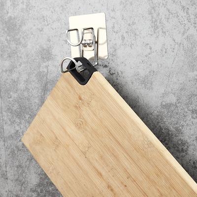 Creative Self Adhesive Home Kitchen Wall Door Stainless Steel Stick Holder Hook Hanger