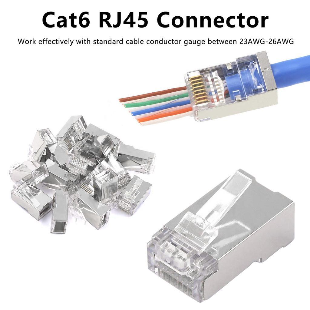 Cable Ethernet Connector 8P8C Cat6 Modular Head Plug Gold-plated Cat 6 Crimp Net