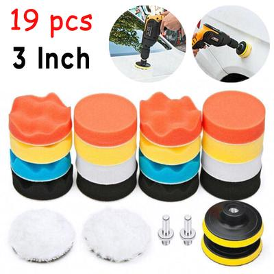 12pc 3/'/' Sponge Buffing Polishing Pad Kit For Car Polisher With Drill Adapter