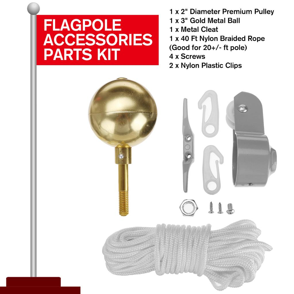 9 Pcs Flag Pole Parts Repair Kit 2 Truck Pulley Gold Ball Cleat Clips Rope FLAG