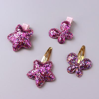 Glitter Heart Star Headwear Hair Clips Girls Kids Hairpin Barrette Accessories