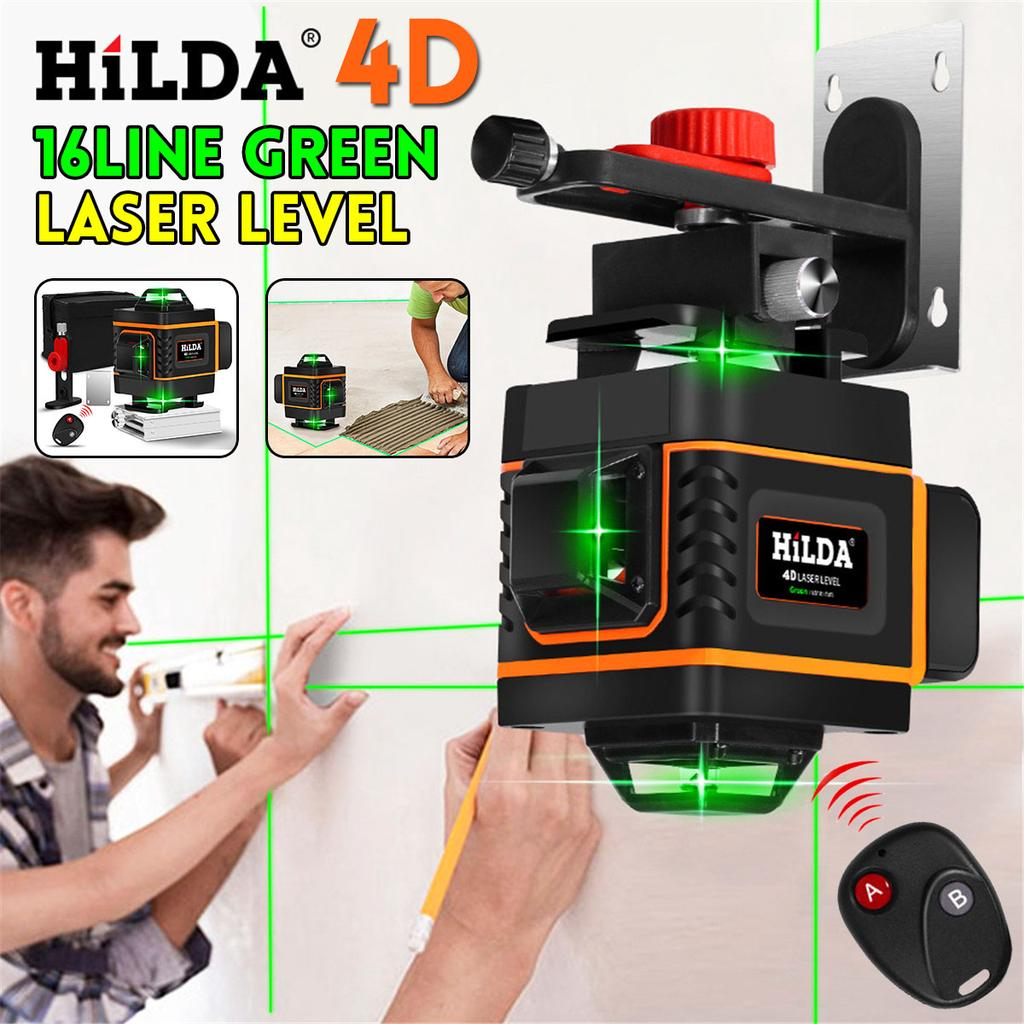 4D 16 //3D 12 Line Green Laser Level 360° Auto Self Leveling Rotary Cross Measure
