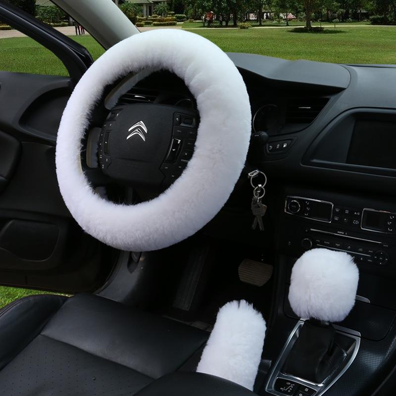 3pcs Soft Universal Motors Car Steering Wheel Wool Cover Case Plush Warm Winter