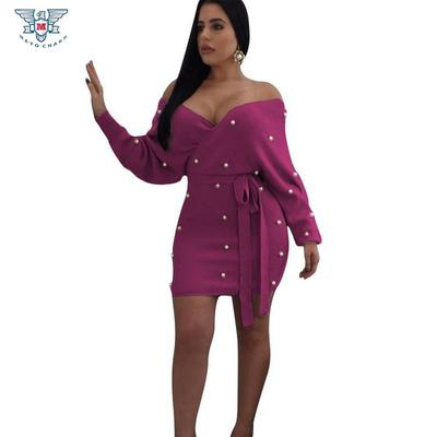 6bb7c16444b Fashion Women Knitted Dress Long Warm Pearl Dresses Women Sexy Off Shoulder  Vestido Bodycon Mini