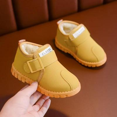 Children's Snow Boots Boys' Plush Solid Color Cotton Boots Waterproof Non Slip Warm Boots In Winter