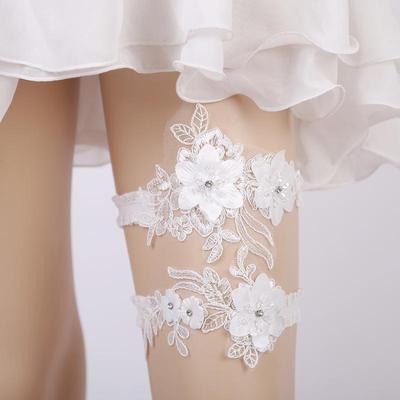Vintage Wedding Bridal Garter Set White Stretch Lace Flower Crystal Pearl Decor