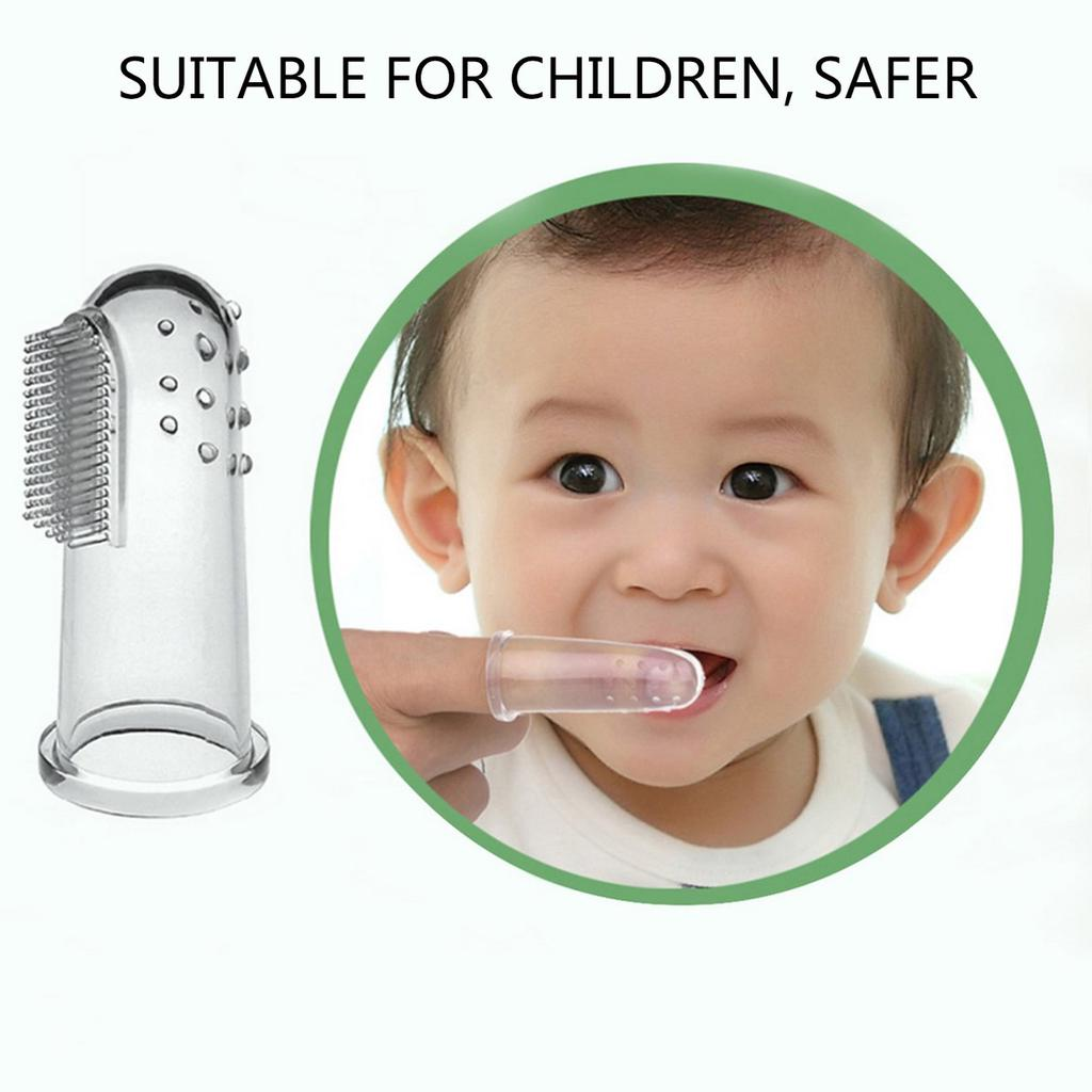 2X Soft Safe Baby Silicone Finger Toothbrush Gum Brush For Clear Massage CA