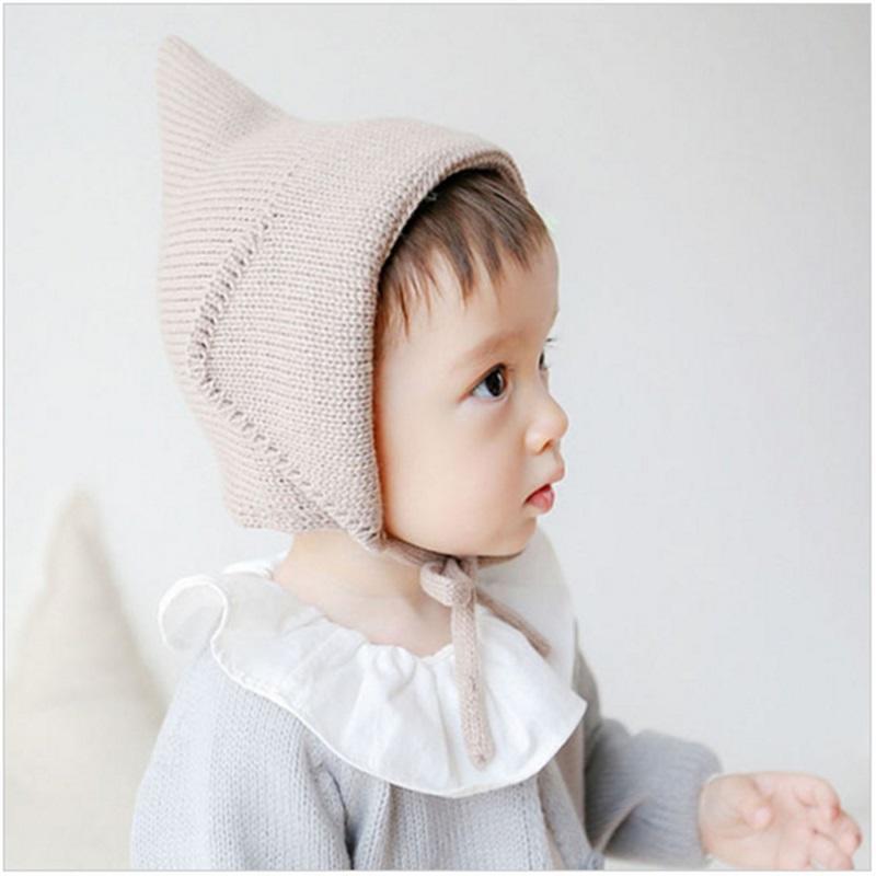 Gorro de punto chicas chicos atadura color sólido gorro de bebé campanario  bruja sombrero tejido