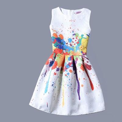 1c203872f4 Sukienki letnie sukienki dla dziewczynek z 12 kwiatkami z nadrukiem Bez  rękawów