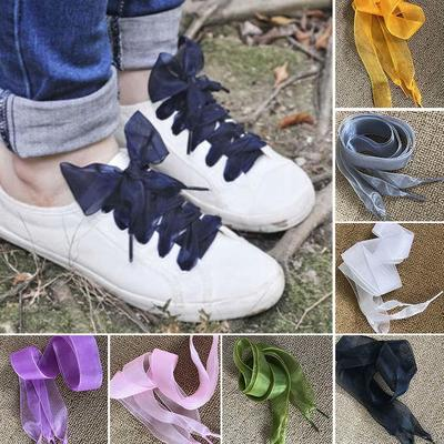 ece5cfd1883f19 1 Pair Shoelaces Flat Silk Satin Ribbon Sport Shoes Sneakers Laces Shoe  strings